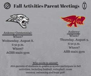 Fall Activities Parent Meetings