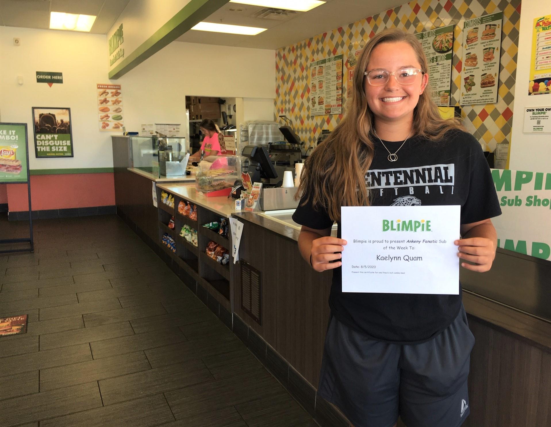 Blimpie Sub of the Week: Kaelynn Quam, Ankeny Centennial softball